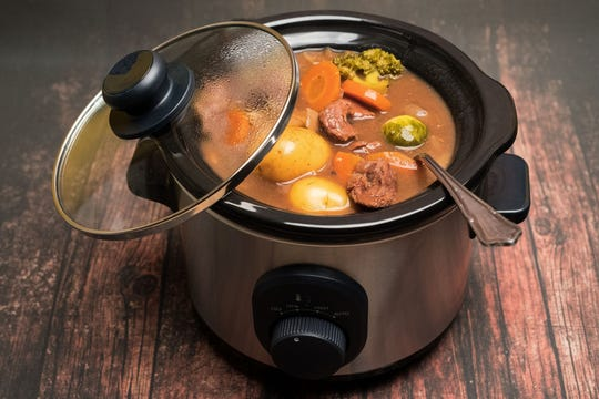 Beef casserole cooked in a slow cooker