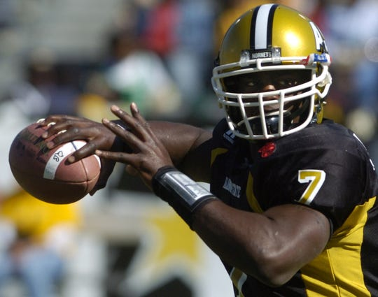 Alabama State quarterback #7 Tarvaris Jackson warms up before the Magic City Classic on October 29, 2005 at Legion Field in Birmingham, Ala. (Montgomery Advertiser, Mickey Welsh)
