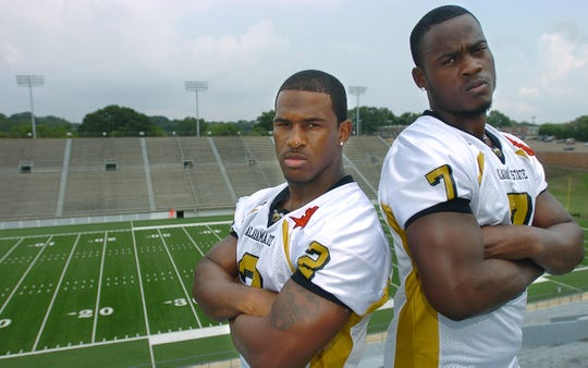 Keldrick Williams, left, and Tarvaris Jackson, both Alabama State University players now, played high school football together at Lanier High School as well.  Shown here at Cramton Bowl on Thursday, August 25, 2005. (Montgomery Advertiser, Karen S. Doerr)