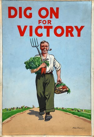 """In past generations, posters urged Americans to plant """"victory gardens"""" during wartime."""