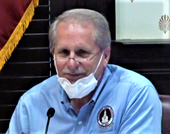 Rutherford County Mayor Bill Ketron speaks about responding to the coronavirus after lowering his mask during a Thursday (April 9, 2020) County Commission Budget, Finance & Investment Committee meeting. Ketron and other officials at the meeting sat apart from one another at the County Courthouse to adhere to social distancing while some commissioners participated through teleconference.