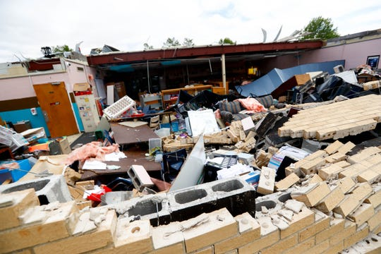 Parks Elementary School is destroyed after severe weather Monday, April 13, 2020, in Cleveland, Miss.