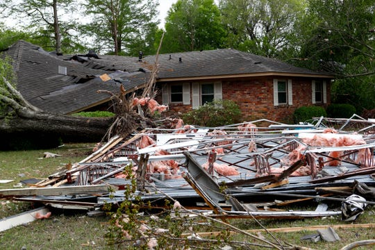 Patricia Kinnard's home pictured Monday, April 13, 2020, in Cleveland, Miss. Overnight severe weather destroyed homes and businesses.
