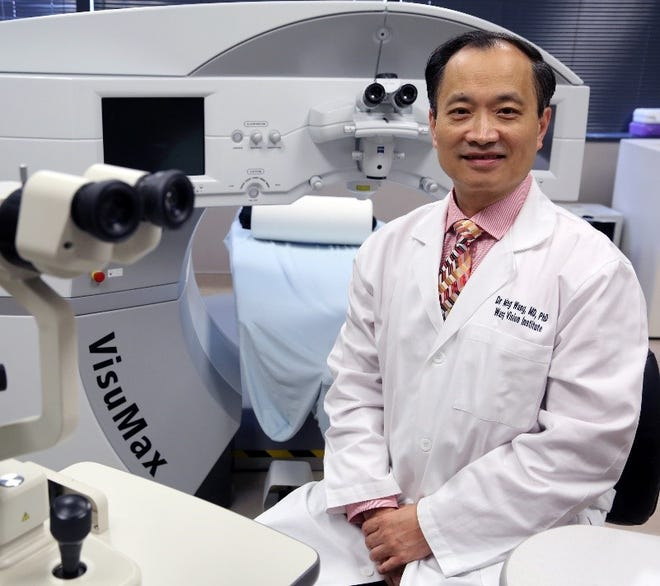 """Dr. Ming Wang's major textbook, """"Corneal Dystrophies and Degenerations – A Molecular Genetic Approach,"""" was published by the American Academy of Ophthalmology in 2003."""