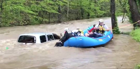 Emergency crews make a water rescue in Dickson County