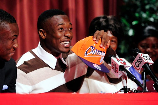 Immokalee High School defensive back Mackensie Alexander surprises the crowd with his decision to go to Clemson on National Signing Day 2013.