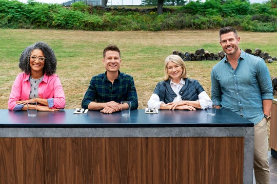 Judges Carla Hall and Dan Langan with hosts Martha Stewart and Jesse Palmer on Food Network's 'Bakeaway Camp.'