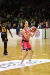 Former Ramapo basketball player Sarah Halejian plays overseas in France.