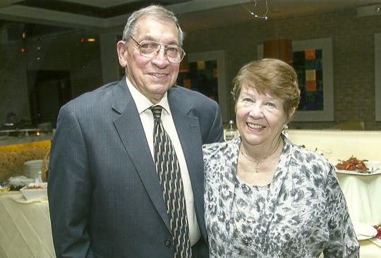 Donald Landzettel with his wife Gail at a New Bridge Medical Center Foundation event in 2018. Landzettel received a Lifetime Achievement award from the foundation and served on its board for many years.