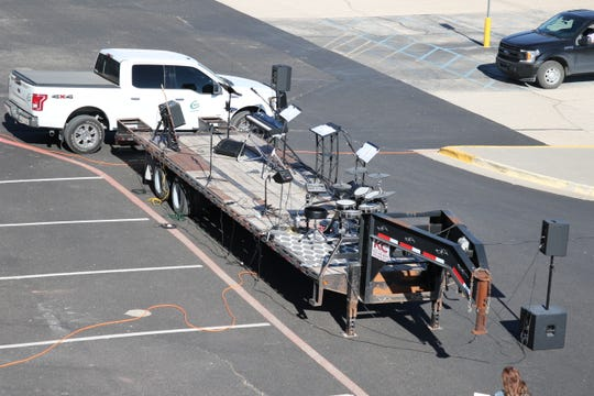 A bird's eye view of the stage used by Harvest Fellowship in Artesia for their drive-in Easter Service on April 12, 2020.