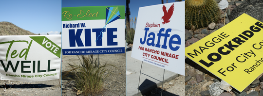 Campaign signs for Ted Weill, Richard Kite, Stephen Jaffe and Maggie Lockridge for Rancho Mirage City Council sit on Highway 111 on Monday, April 13, 2020 in Rancho Mirage, Calif.