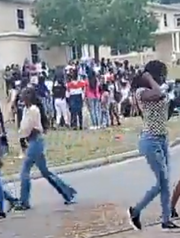 A screengrab of a video capturing a west Pensacola block party on Easter Sunday shows residents failing to practice social distancing amid the COVID-19 pandemic.