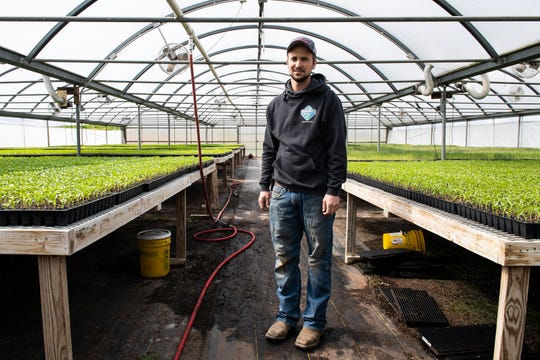 Denton Benedict stands inside one of the greenhouses at  Benedict's Produce in Franklin County on Friday, April 10, 2020.