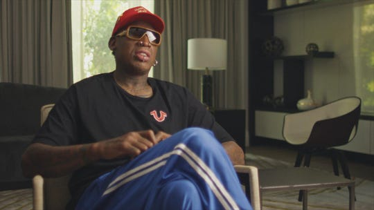 "Dennis Rodman in a contemporary interview for ""The Last Dance,"" an ESPN documentary about Michael Jordan's last season with the Chicago Bulls."