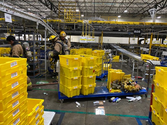 An Amazon fulfillment center in Phoenix had a small fire on Sunday, April 12, 2020.