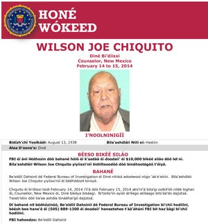 FBI released a poster in Navajo on Wilson Joe Chiquito, 75, who was beaten to death at his home in the community of Counselor, N.M., in February 2014.