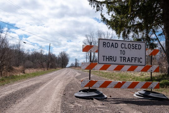 A section of Columbine Road on Harsens Island was closed April 7 due to flooding, and remains closed until further notice.