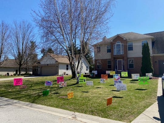 Friends and family decorated the McCullochs' St. Clair lawn April 2, the day Corey McCulloch was released from the hospital for COVID-19.