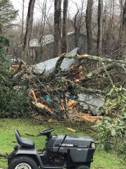A shed was damaged by a downed tree in Rhinebeck as seen on Monday, April 13, 2020.