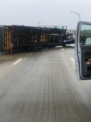 A tractor-trailer crashed on Interstate 84 at the Hamilton Fish Newburgh Beacon bridge on Monday, April 13, 2020.