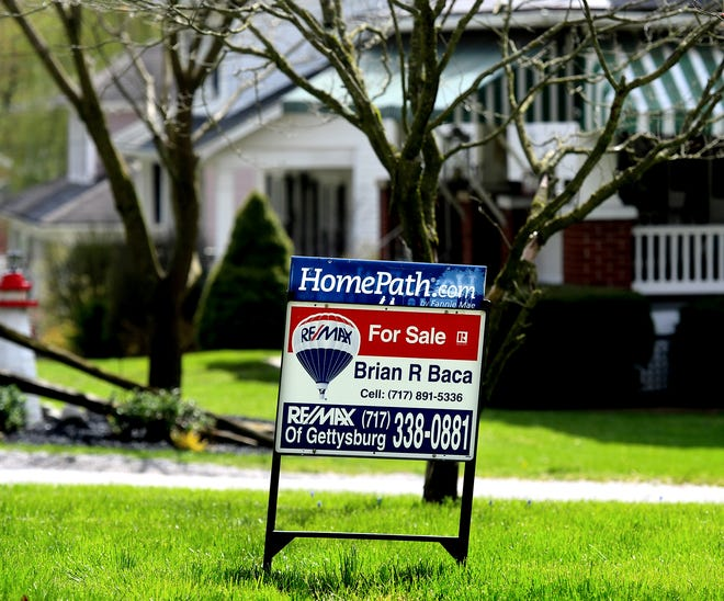 A sign advertises a house for sale in Glen Rock Borough Monday, April 13, 2020. Bill Kalina photo