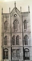 1863 architect's sketch of the Masonic Hall at 15-17 N. Beaver St.