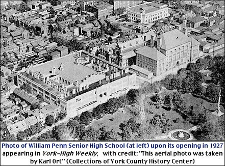 Hannah Penn Junior High School, right, was built on the former Potter's Field just before the turn of the 20th century, becoming known as York High. William Penn Senior High School replaced the school in 1927, and the former high school became known as Hannah Penn. Stephen H. Smith prepared this based on a photo from York County History Center files.