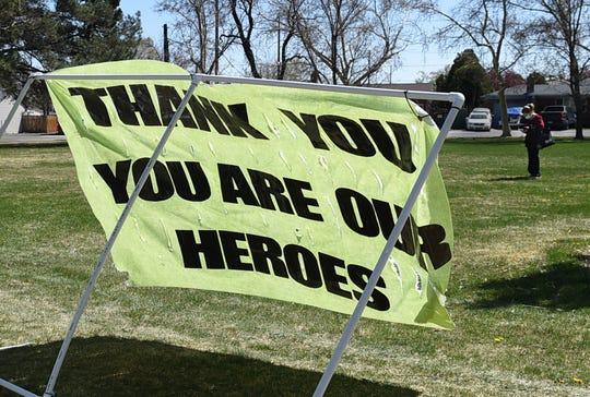 A sign thanking the Renown staff has been setup at Pickett Park, cross the street from the hospital.
