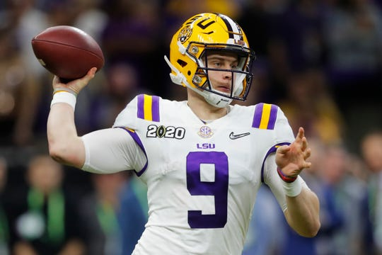 LSU quarterback Joe Burrow passes against Clemson during the second half of a College Football Playoff national championship game.