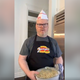 Jim Gaffigan, Zweigle's gear in place and macaroni salad in hand.