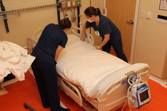"""What was once a bustling and spacious three-room Hallowell Conference Center and office space is now a 43-bed ICU prepared for the """"inevitable spike,"""" Peninsula Regional Medical Center said on April 13, 2020."""