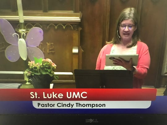 Pastor Cindy Thompson leads St. Luke United Methodist Church's Easter Sunday service for people watching at home April 12, 2020.