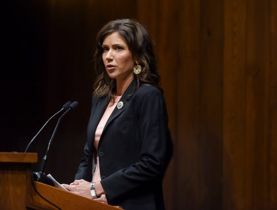 Gov. Kristi Noem announces that Sanford Health will lead a clinical trial testing the antimalarial drug hydroxychloroquine as treatment and prevention of COVID-19 on Monday, April 13, 2020 at the Sanford Center in Sioux Falls, S.D.
