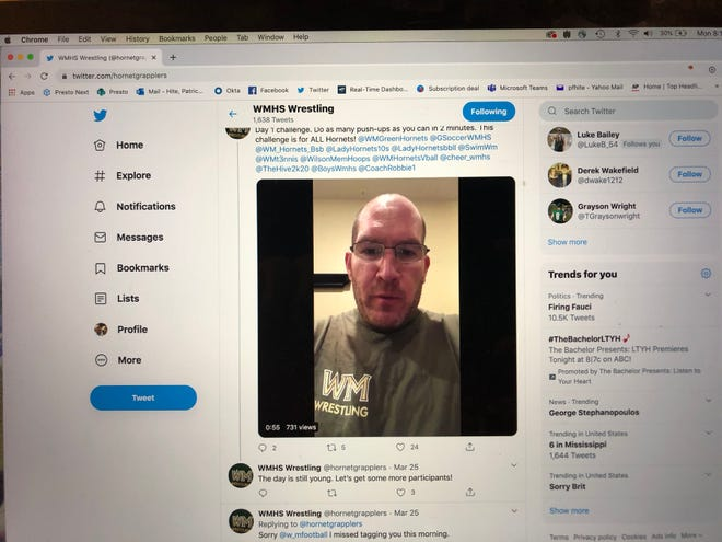 Wilson Memorial wrestling coach Chris Robinson posted a workout video on Twitter on March 25. Wilson coaches and athletes have followed him, posting daily workouts during the current school shutdown.