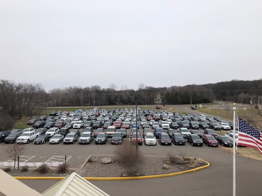 The Waters Church lead pastor Doug Vagle said he projected about 1,000 cars came to the four services as the church hosted a rooftop Easter service on Sunday, April 12, 2020, at The Waters Church in Sartell.