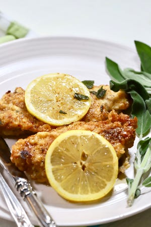 Lemon butter with sage gives flavor pop to boneless, skinless breasts.