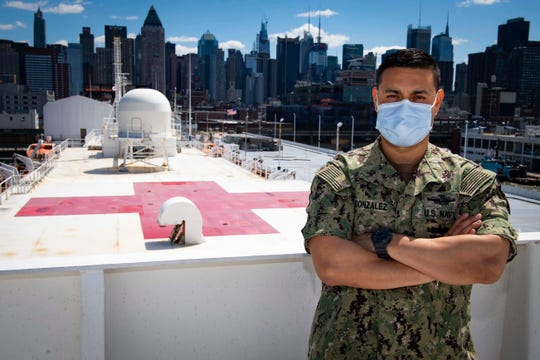 U.S. Navy Chief Hospital Corpsman Danny Gonzalez of El Paso is serving aboard the USNS Comfort hospital ship in New York City. (U.S. Navy photo by Mass Communication Specialist 2nd Class Sara Eshleman)