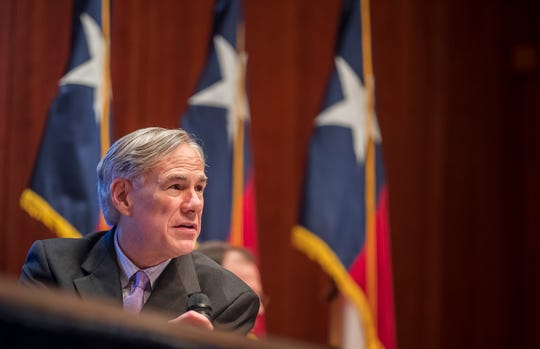 Texas Gov. Greg Abbott expresses optimism during a coronavirus news conference Friday, April 10, 2020, in Austin. Abbott also said the state's death toll was lower than many other states.