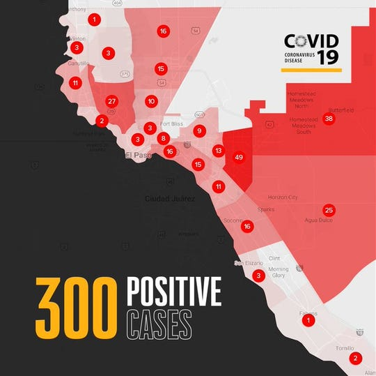 El Paso map shows 300 case of COVID-19 as of Monday, April 13, 2020.