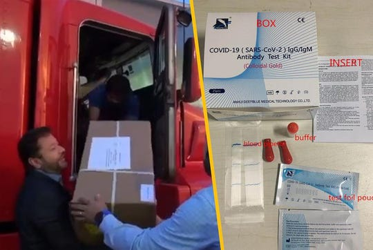 In a video posted on social media, boxes of coronavirus tests are unloaded after their arrival from China in Laredo.