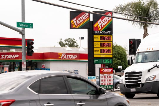 Three stations at the corner of Farmersville Boulevard and Visalia Road posted $1.799 a gallon for self-serve unleaded with cash payment on Monday, April 13, 2020. A station just a few blocks away had it for $1.759 the same day.