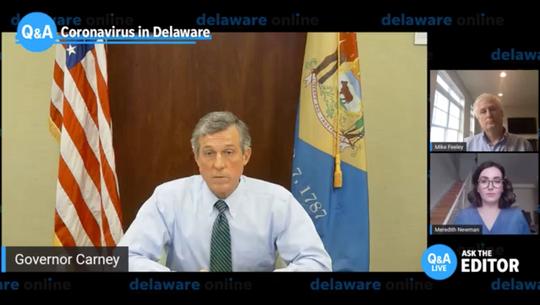 April 13, 2020: screenshot live chat with Gov. John Carney
