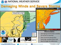 The National Weather Service forecasts damaging wind and thunderstorms Monday morning and throughout the afternoon.