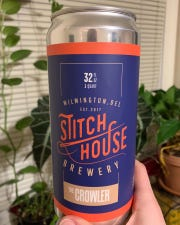 Downtown Wilmington's Stitch House Brewery is selling cocktails canned in 32-ounce crowlers for takeout and to-go orders.