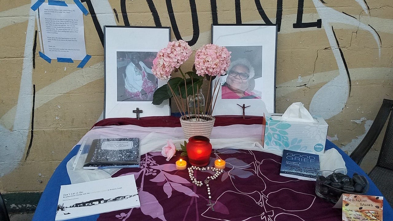 """Sister Alison McCrary created an altar to Leona """"Chine"""" Grandison, owner of the Candlelight Lounge in New Orleans's Treme neighborhood, who died recently of COVID-19. Grandison was well-known and liked by musicians and residents of Treme."""