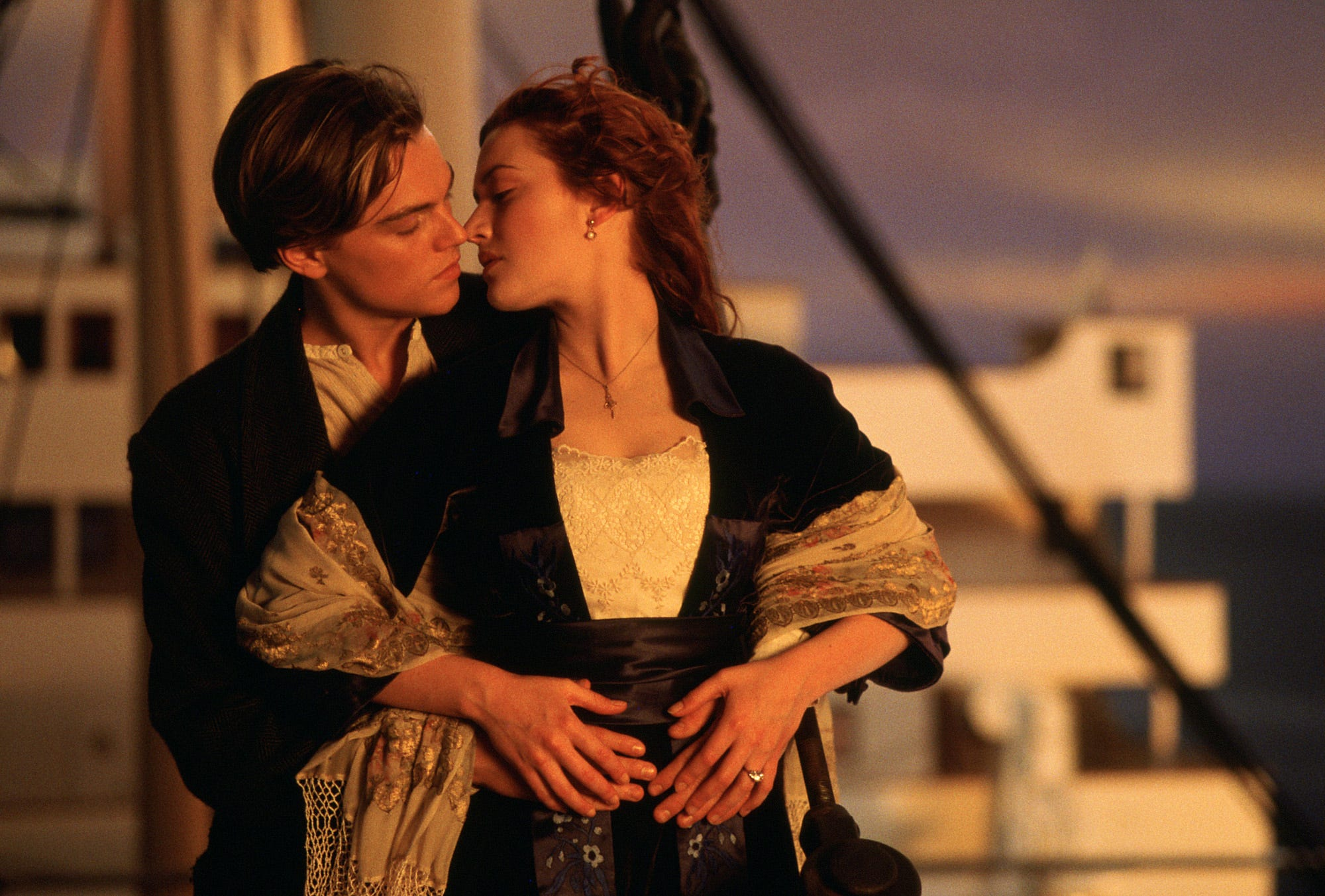 "Leonardo DiCaprio plays Jack and Kate Winslet is Rose in an iconic moment from ""Titanic."""
