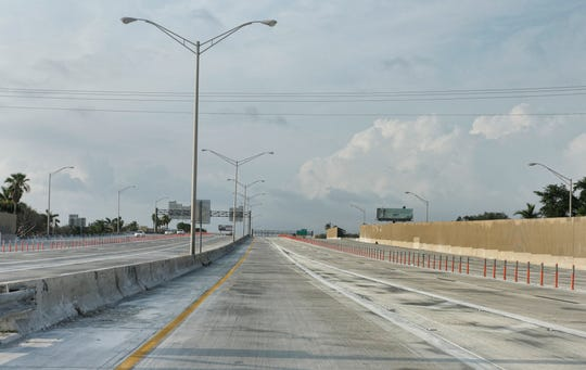 Interstate I-95 headed north out of Miami shows very light traffic due to Florida residents quarantining amid the coronavirus outbreak.