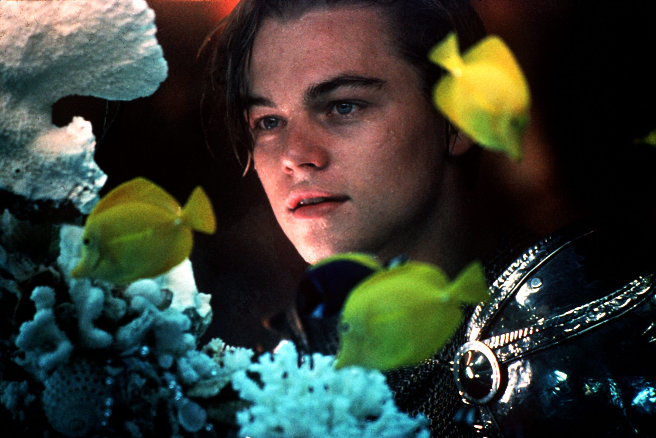 "Leonardo DiCaprio plays one half of the tragic lovebirds in Baz Luhrmann's ""Romeo + Juliet."""