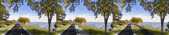 Neenah is considering three options for the reconstruction of Lakeshore Avenue: an on-street trail (left), an abutting trail (center) and an off-street trail (right). The Public Services and Safety Committee voted 4-1 in favor of the off-street trail.