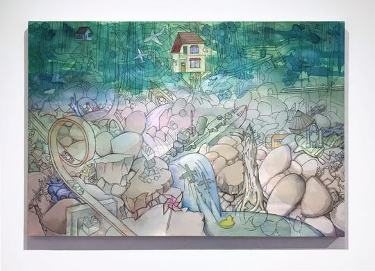 """""""Lost In The Wood,"""" acrylic on canvas, by Hiro Sakaguchi, is featured in """"Tracing Origins,"""" an on-line exhibition from Rowan University Art Gallery."""